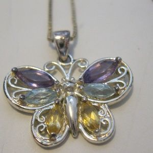 Butterfly Pendant Sterling Silver Necklace